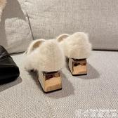 熱賣中跟鞋毛毛鞋女冬外穿2020新款百搭韓版加絨粗跟單鞋女中跟豆豆鞋高跟鞋 博世