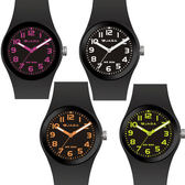[EYE DC] JAGA 捷卡 AQ912 黑色螢光系列 指針錶 50米防水 (黑搭粉/白/橙/綠四色) 錶殼直徑37mm