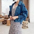 正韓國春裝新款風衣式感設計的牛仔外套 花漾小姐【預購】