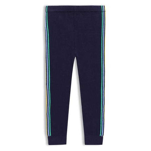Gap女幼童柔軟舒適條紋鬆緊腰針織內搭褲497772-海軍藍色