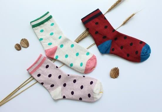 [協貿國際]秋冬款全棉女士中筒襪子彩色圓點