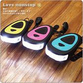 ☆樂樂購☆鐵馬星空☆彩色USB充電前燈 線控喇叭 自行車前燈 電子鈴鐺*(P01-097)
