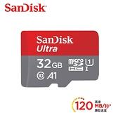 【聖影數位】SanDisk Ultra microSDHC 32GB 記憶卡(無轉卡) TF 120MB/s Class10 U1 A1【公司貨 10年保】SDSQUA4