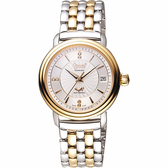 Ogival 愛其華 雅仕真鑽機械腕錶-銀x雙色版/35mm 3363AJBSR