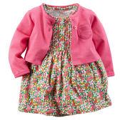 【美國Carter's】套裝2件組-粉嫩紅繽紛小碎花包屁式洋裝+純棉小外套 121G031