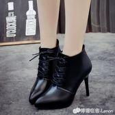 超高跟細跟尖頭繫帶女鞋短靴英倫時尚馬丁靴歐美女靴 檸檬衣舍