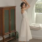 禮服 V領閃光吊帶洋裝女輕熟風氣質法式裙子超仙女雪紡禮服性感長裙