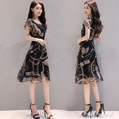 女裝韓范顯瘦大碼印花雪紡洋裝時尚氣質A字中長裙早秋促銷