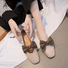 平底單鞋女蝴蝶結方頭奶奶鞋復古百搭韓版軟底豆豆鞋 KOKO時裝店