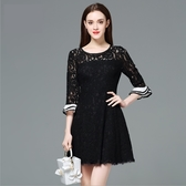 中大尺碼洋裝 撞色品牌荷葉袖睫毛蕾絲連身裙 L-5XL #yz11538 ❤卡樂store❤