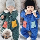 寶寶連體衣秋冬男0-1歲嬰幼兒外穿保暖衣服長袖哈衣女嬰兒爬爬服3Mandyc