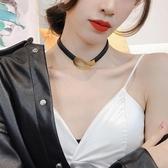 頸帶 歐美簡約氣質金屬扣項圈皮質鎖骨鍊choker頸帶脖子飾品短款項鍊女