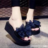 夏季涼拖鞋女外穿高跟一字拖蝴蝶結防滑坡跟厚底海邊度假沙灘鞋 印象家品旗艦店