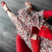 韓版復古氣質荷葉邊顯瘦沙灘雪紡碎花半身長裙女度假裙【時尚大衣櫥】