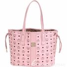MCM Liz Visetos 中款 品牌塗層附萬用包雙面用購物包(粉色) 1840532-05