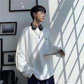 長袖T恤 港風秋季ins長袖T恤韓版寬鬆假兩件衛衣潮流百搭純色學生上衣男士 夢藝
