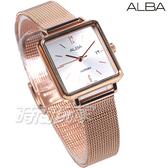 ALBA雅柏錶 復古 文青 方形 米蘭帶 藍寶石水晶鏡面 不銹鋼 女錶 玫瑰金電鍍 AH7V08X1 VJ22-X316K