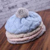 保暖加厚針織毛線帽貝雷帽