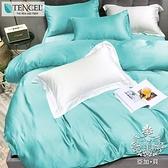 AGAPE 亞加.貝《炫紫》雙人吸濕排汗法式天絲三件式薄床包5尺三件式薄床包-湖綠