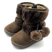 《7+1童鞋》 俏皮球球  可愛百搭 雪靴 馬靴 A755  咖啡色