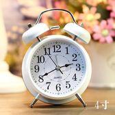 床頭時尚簡約靜音金屬打鈴指針鬧鐘創意鬧錶