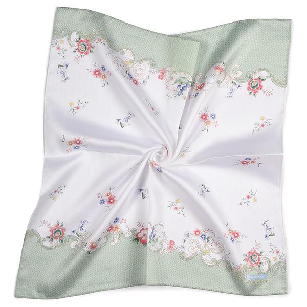 WEDGWOOD典雅花卉印花純綿帕領巾(粉綠色)989219-72