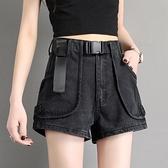 黑色牛仔短褲女2021夏季新款港味復古高腰韓版寬鬆a字熱褲潮 【七七小鋪】