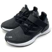 《7+1童鞋》中大童 ADIDAS RapidaRun EL C  魔鬼氈 輕量 織布 透氣 運動鞋 慢跑鞋  7378  黑色