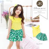 純棉-夏日花朵塗鴉綁帶活力套裝 夏季套裝 女童裝 女童洋裝 透氣 女童短裙 哎北比童裝