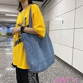 牛仔包百搭包包女四季可用帆布牛仔布簡約手提大容量韓版ulzzang側背包 JUST M