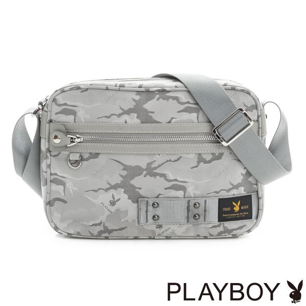 PLAYBOY- 斜背包 性格迷彩系列-灰色