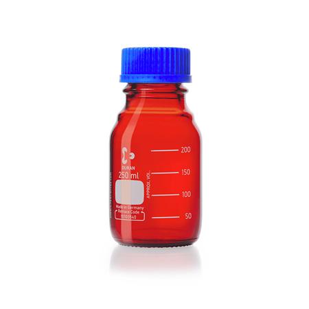 《DURAN/SCHOTT》茶色廣口血清試藥瓶 GL45 Amber Bottle, Media, Screw Cap, GL45 PP Cap