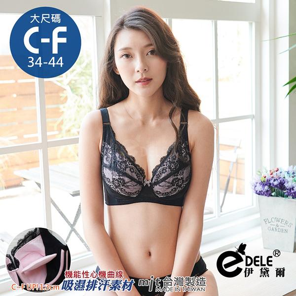 妮可莉雅HIDE美胸內月牙拉提蕾絲大罩杯內衣 C-F罩34-44 (黑色)-伊黛爾