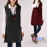 毛衣背心 韓國春裝新品寬鬆大尺碼中長款V領口袋無袖針織毛衣馬甲背心裙外套【618大促銷】