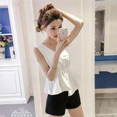 韓版棉麻無袖短款背心夏裝新款時尚收腰打底衫顯瘦繫帶小清新上衣「夢娜麗莎精品館」