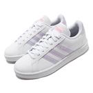 adidas 休閒鞋 Grand Court 白 紫 女鞋 皮革鞋面 基本款 運動鞋【PUMP306】 FX3446