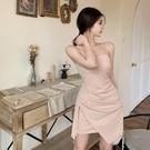 抹胸洋裝 純欲風吊帶連身裙抹胸不規則開叉包臀短裙女裝夏季2021年新款裙子 寶貝 618狂歡
