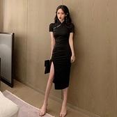 2021新款法式旗袍年輕款少女長款暗黑收腰顯瘦氣質開叉包臀洋裝15 幸福第一站