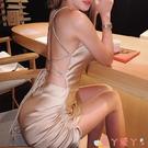 露背洋裝gusty 歐美性感綁帶露背包臀裙 ins潮款氣質薄綢緞抽繩設計連身裙 愛丫 免運