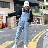 新款寬鬆闊腿褲背帶褲九分褲繡花牛仔褲學生