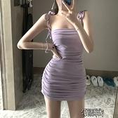無袖洋裝 包臀洋裝夏女新款2021夏季韓版法式復古裙子吊帶裙顯瘦裹【雙十一狂歡】