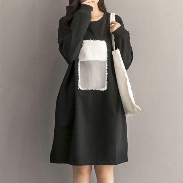 東京奈奈日系長袖圓領休閒連身裙[j60961]