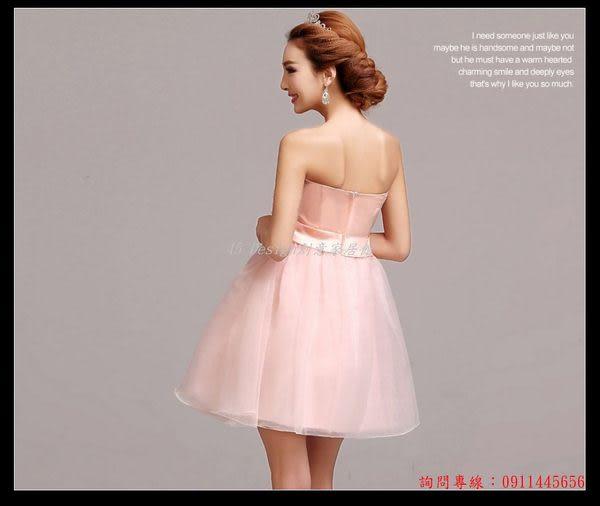 (45 Design) 訂做款式7天到貨夏款新品粉色新娘伴娘服短款小禮服蓬蓬裙連衣裙禮儀演出服