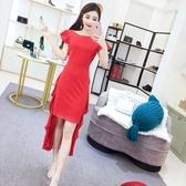 2018夏季新款韓版名媛氣質修身包臀裙子女不規則荷葉邊顯瘦洋裝