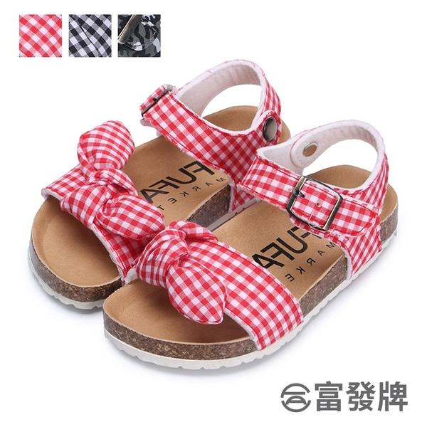 【富發牌】格紋迷彩風兒童涼鞋-黑/紅/迷彩  33MQ71