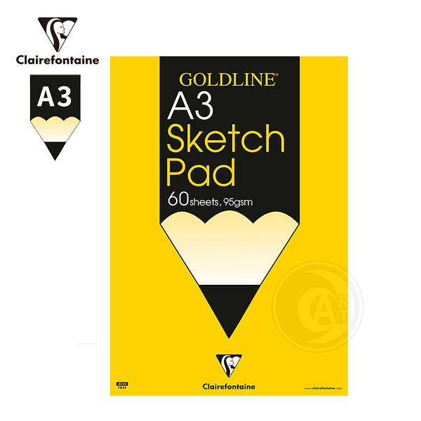 『ART小舖』Clairefontaine 法國CF GOLDLINE SKETCH PAD 素描速寫本95g 60張 A3