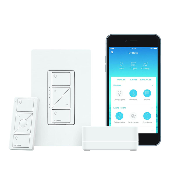 [7美國直購] Lutron Caseta Wireless Smart Lighting Dimmer Switch Starter Kit, P-BDG-PKG1W