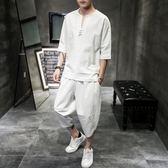 【雙十二】狂歡中國風棉麻套裝男夏季兩件套韓版潮流亞麻七分袖T恤帥氣衣服一套   易貨居