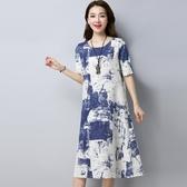 洋裝 連身裙 2019新款文藝印花中大尺碼中長款復古中國風水墨印花棉麻短袖連衣裙女 快速出貨