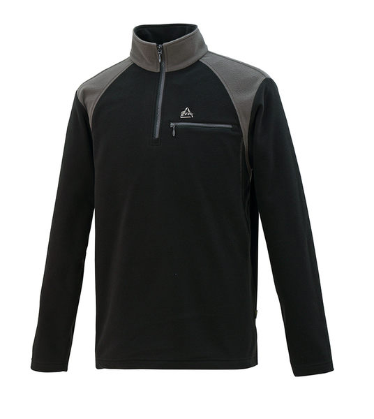 ╭OUTDOOR NICE╮維特FIT 男款雙刷雙搖撞色保暖上衣 HW1108 經典黑 保暖舒適 中層衣 發熱衣 刷毛衣